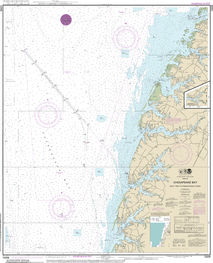 NOAA Nautical Chart 12226: Chesapeake Bay Wolf Trap to Pungoteague Creek