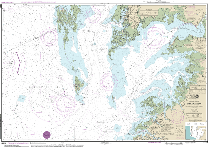 NOAA Nautical Chart 12228: Chesapeake Bay Pocomoke and Tangier Sounds