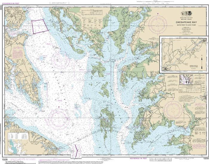 NOAA Nautical Chart 12230: Chesapeake Bay Smith Point to Cove Point