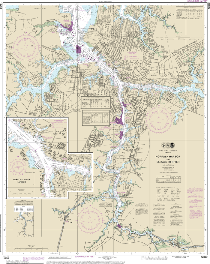 NOAA Nautical Chart 12253: Norfolk Harbor and Elizabeth River
