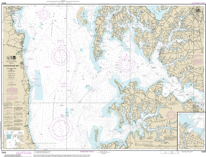 NOAA Nautical Chart 12266: Chesapeake Bay Choptank River and Herring Bay; Cambridge