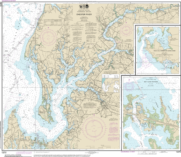 NOAA Nautical Chart 12272: Chester River; Kent Island Narrows, Rock Hall Harbor and Swan Creek