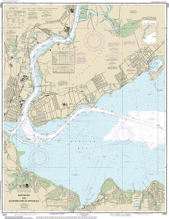 NOAA Nautical Chart 12331: Raritan Bay and Southern Part of Arthur Kill