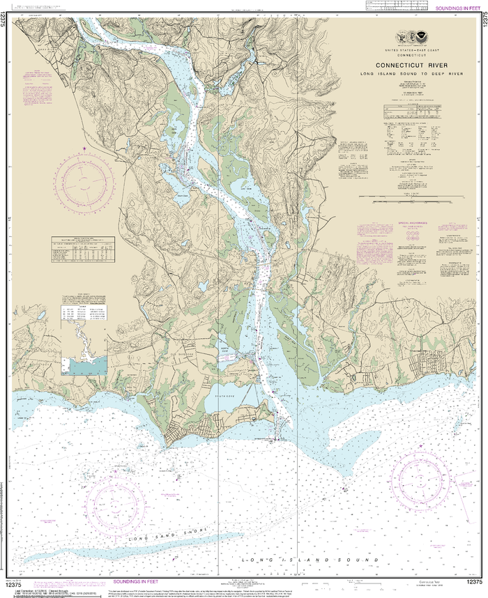 NOAA Nautical Chart 12375: Connecticut River Long lsland Sound to Deep River