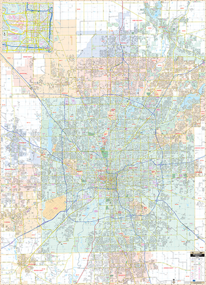 Indianapolis, In Wall Map - Large Laminated