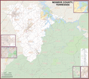 Monroe County, Tn Wall Map - Large Laminated