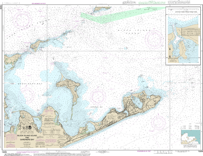 NOAA Nautical Chart 13209: Block Island Sound and Gardiners Bay; Montauk Harbor