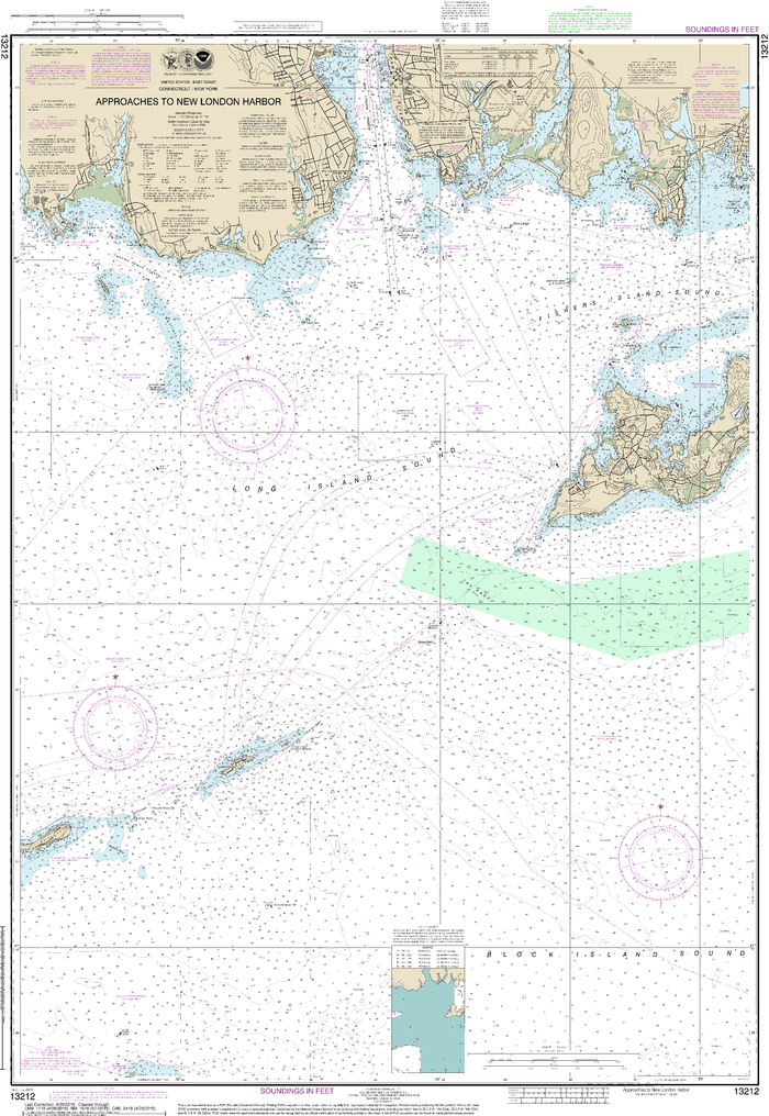 NOAA Nautical Chart 13212: Approaches to New London Harbor