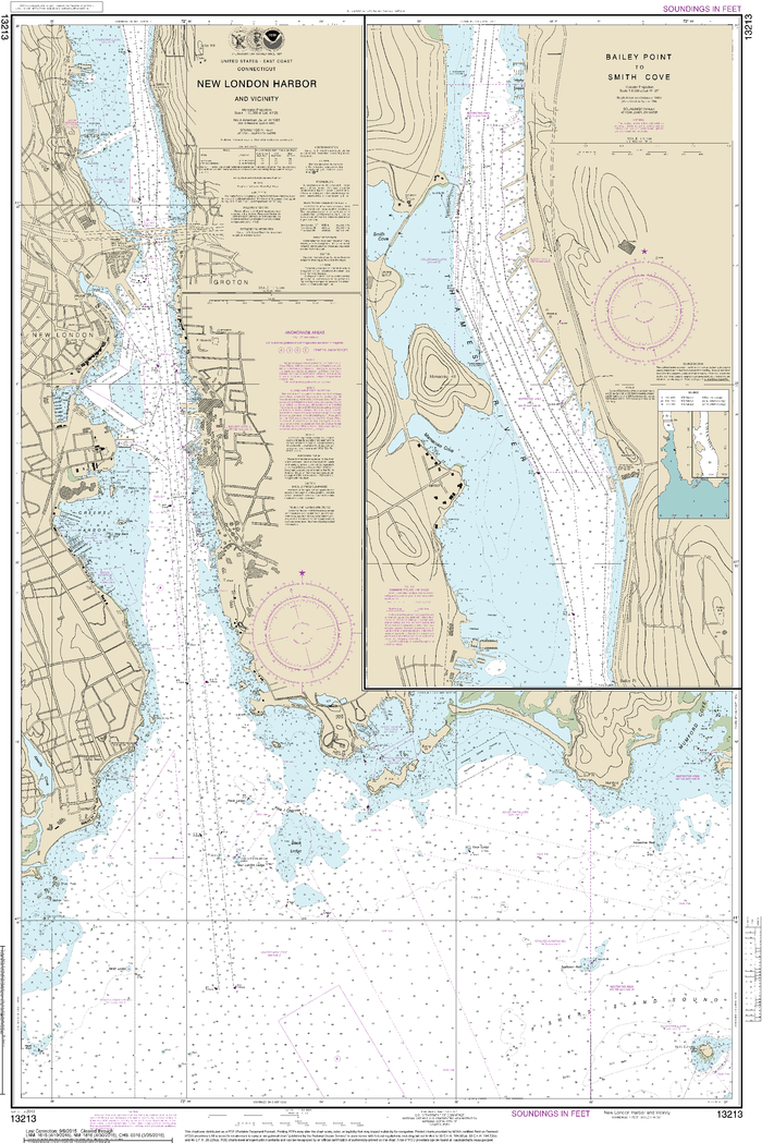 NOAA Nautical Chart 13213: New London Harbor and vicinity;Bailey Point to Smith Cove