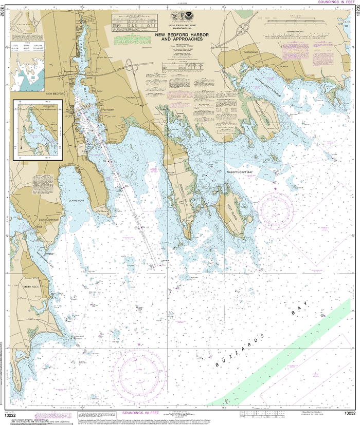 NOAA Nautical Chart 13232: New Bedford Harbor and Approaches
