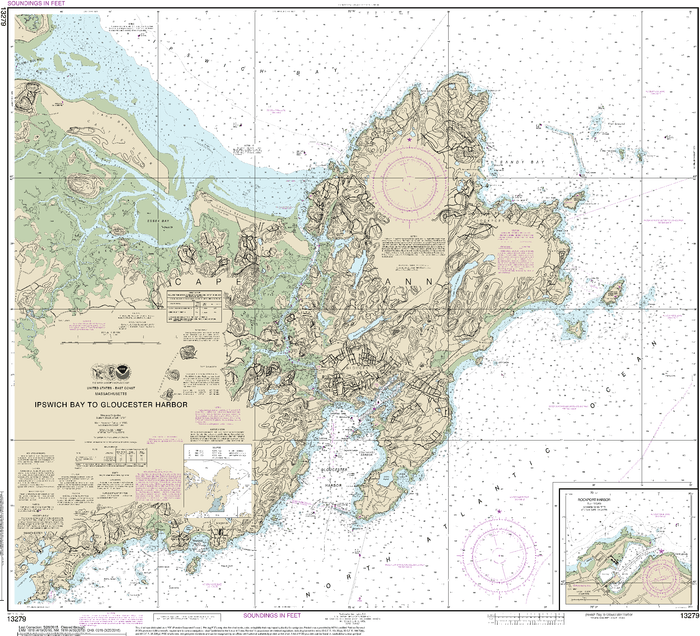 NOAA Nautical Chart 13279: Ipswich Bay to Gloucester Harbor; Rockport Harbor