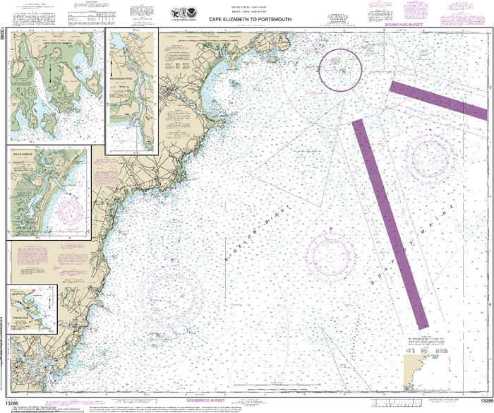 NOAA Nautical Chart 13286: Cape Elizabeth to Portsmouth; Cape Porpoise Harbor; Wells Harbor; Kennebunk River; Perkins Cove