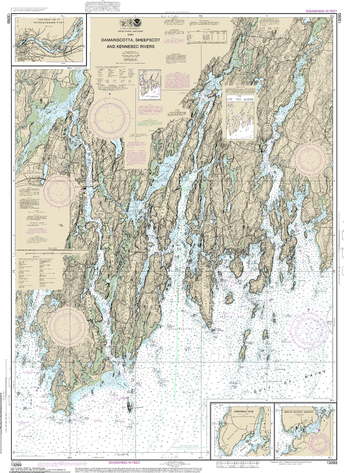 NOAA Nautical Chart 13293: Damariscotta, Sheepscot and Kennebec Rivers;South Bristol Harbor;Christmas Cove