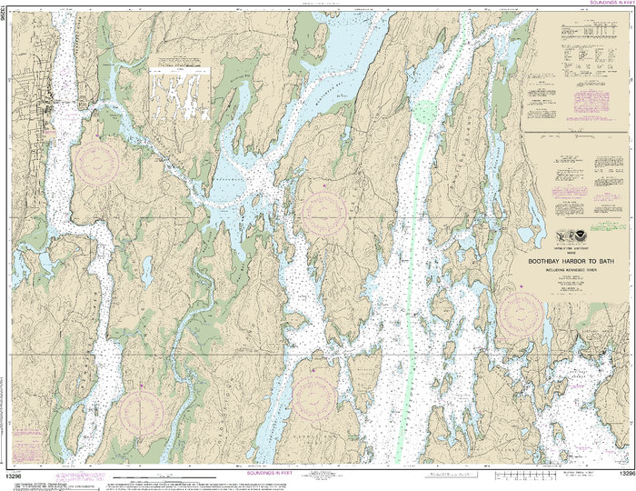 NOAA Nautical Chart 13296: Boothbay Harbor to Bath, Including Kennebec River