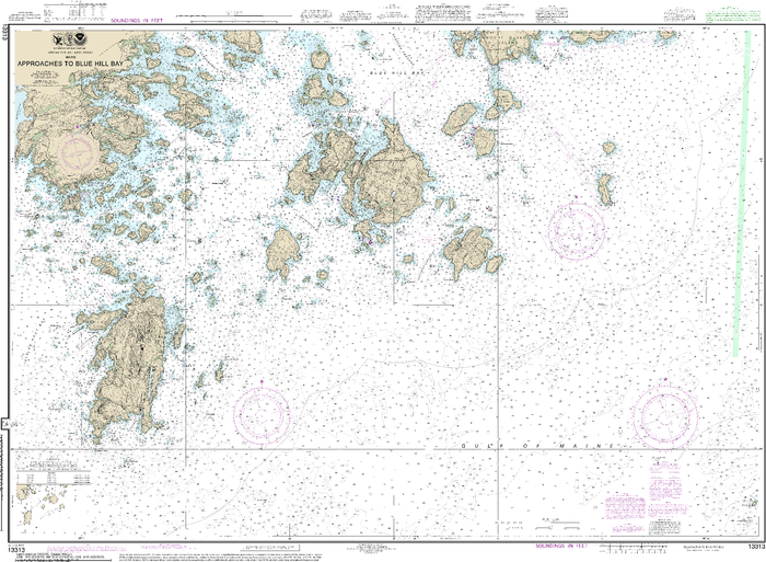 NOAA Nautical Chart 13313: Approaches to Blue Hill Bay