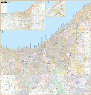 Cleveland Cuyahoga Co, Oh Wall Map - Large Laminated