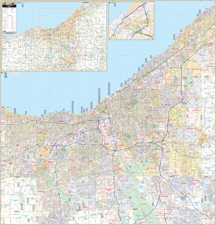 Cleveland and Cuyahoga County OH Wall Map