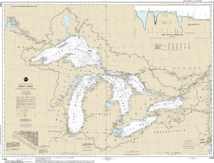 NOAA Nautical Chart 14500: Great Lakes, Lake Champlain to Lake of the Woods