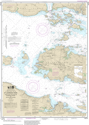 NOAA Nautical Chart 14774: Round I., N.Y., and Gananoque, Ont., to Wolfe I., Ont.