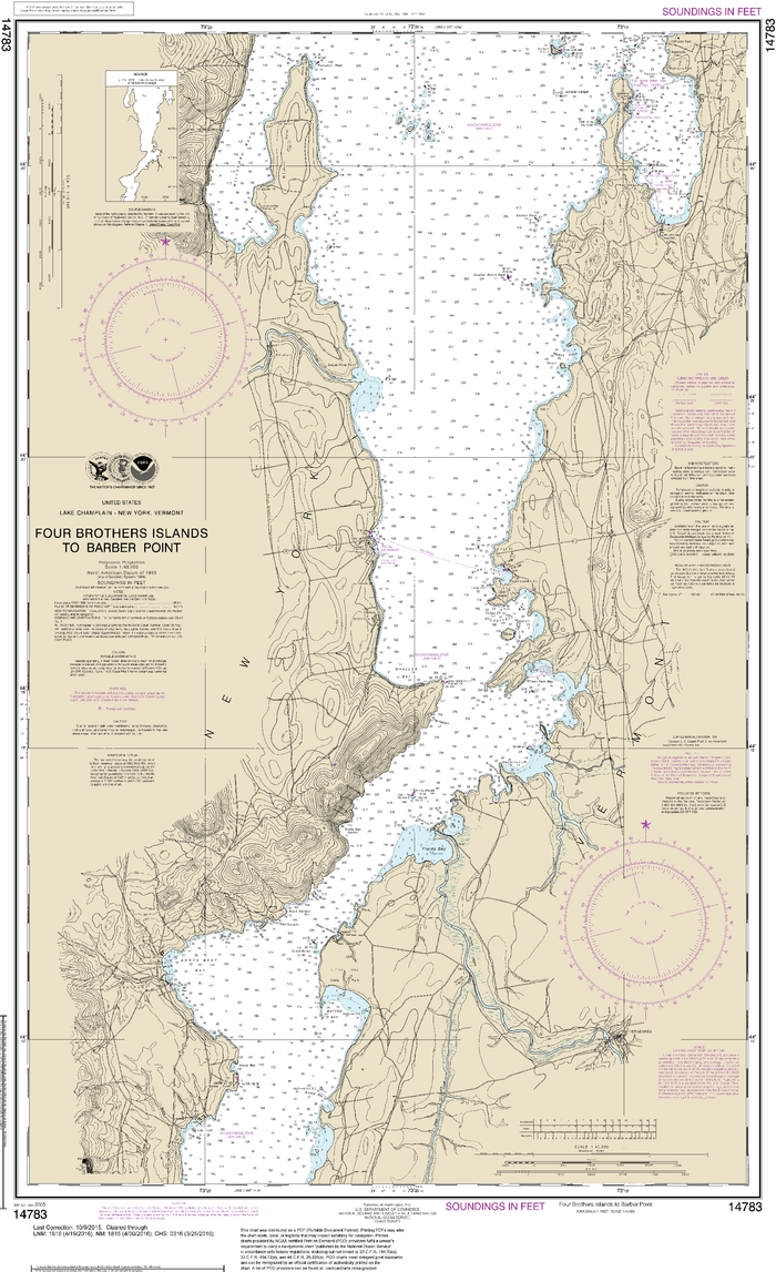 NOAA Nautical Chart 14783: Four Brothers Islands to Barber Point