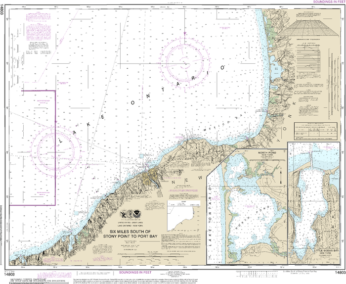 NOAA Nautical Chart 14803: Six Miles south of Stony Point to Port Bay;North Pond;Little Sodus Bay