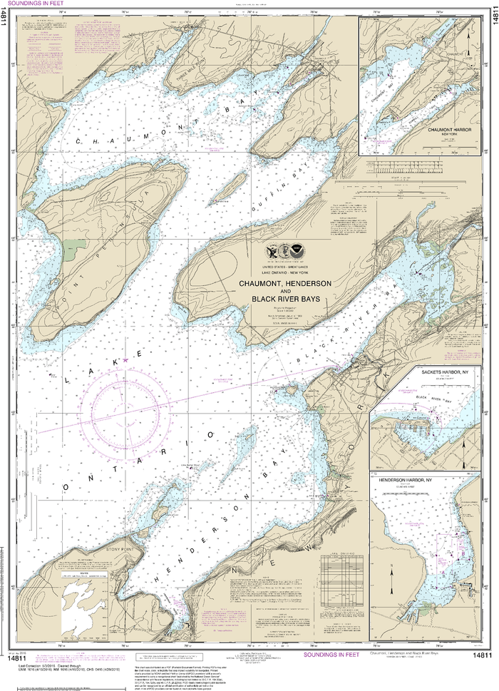 NOAA Nautical Chart 14811: Chaumont, Henderson and Black River Bays;Sackets Harbor;Henderson Harbor;Chaumont Harbor