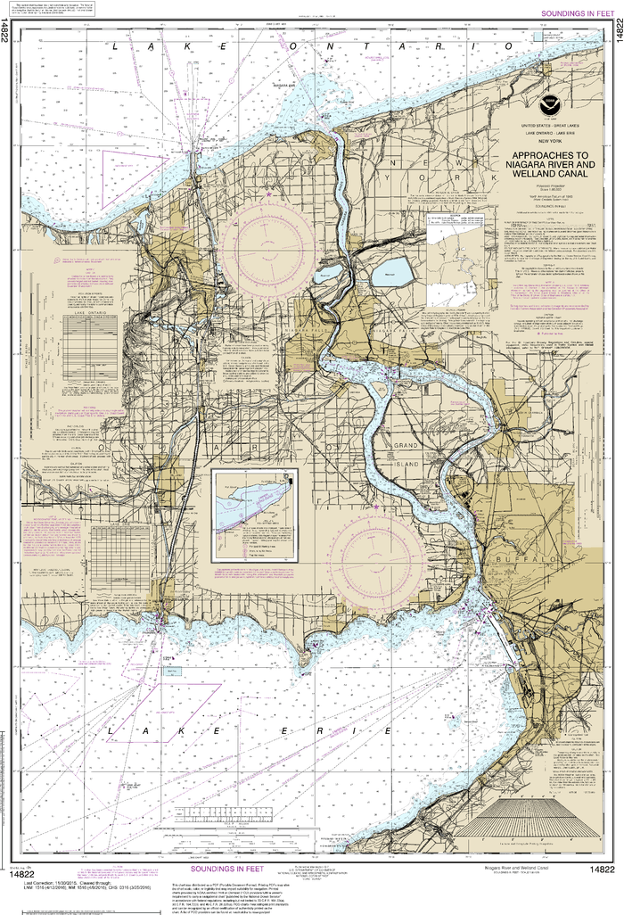 NOAA Nautical Chart 14822: Approaches to Niagara River and Welland Canal