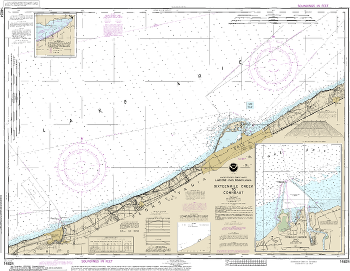 NOAA Nautical Chart 14824: Sixteenmile Creek to Conneaut;Conneaut Harbor