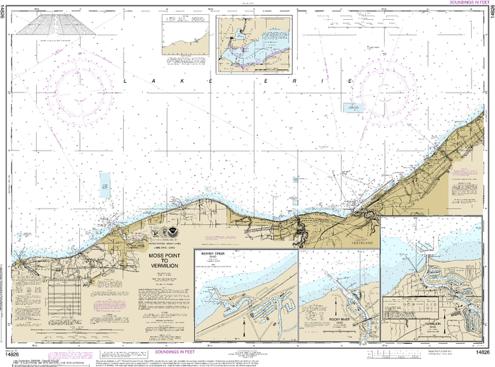 NOAA Nautical Chart 14826: Moss Point to Vermilion;Beaver Creek;Vermilion Harbor;Rocky River