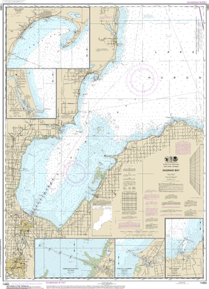 NOAA Nautical Chart 14863: Saginaw Bay;Port Austin Harbor;Caseville Harbor;Entrance to Au Sable River;Sebewaing Harbor;Tawas Harbor