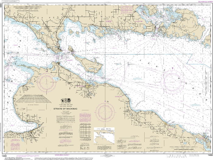 NOAA Nautical Chart 14880: Straits of Mackinac