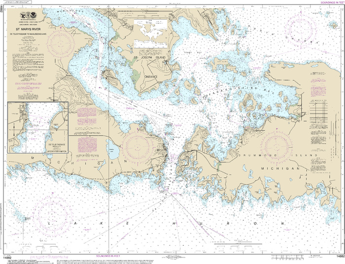 NOAA Nautical Chart 14882: St. Mars River - Detour Passage to Munuscong Lake;Detour Passage