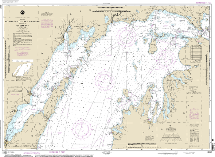 NOAA Nautical Chart 14902: North end of Lake Michigan, including Green Bay