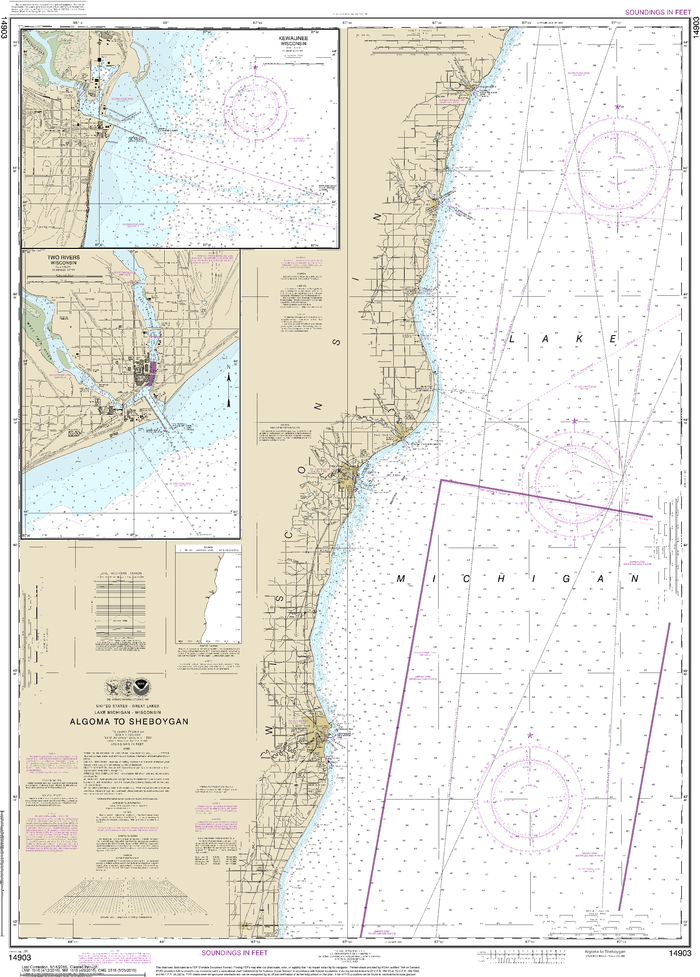 NOAA Nautical Chart 14903: Algoma to Sheboygan;Kewaunee;Two Rivers