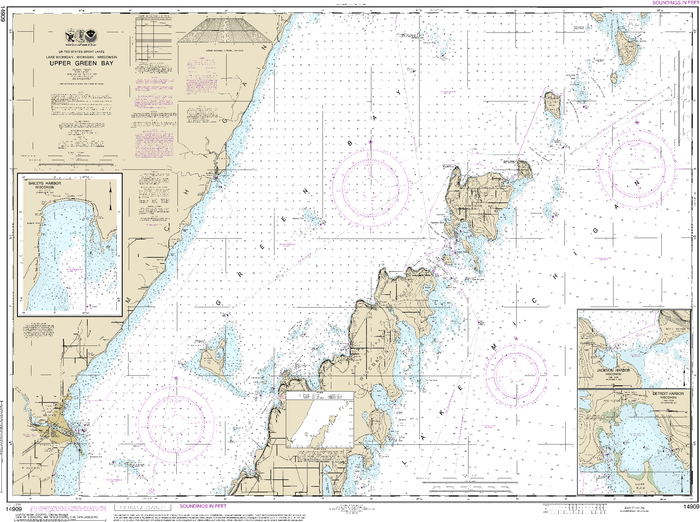 NOAA Nautical Chart 14909: Upper Green Bay - Jackson Harbor and Detroit Harbor;Detroit Harbor;Jackson Harbor;Baileys Harbor