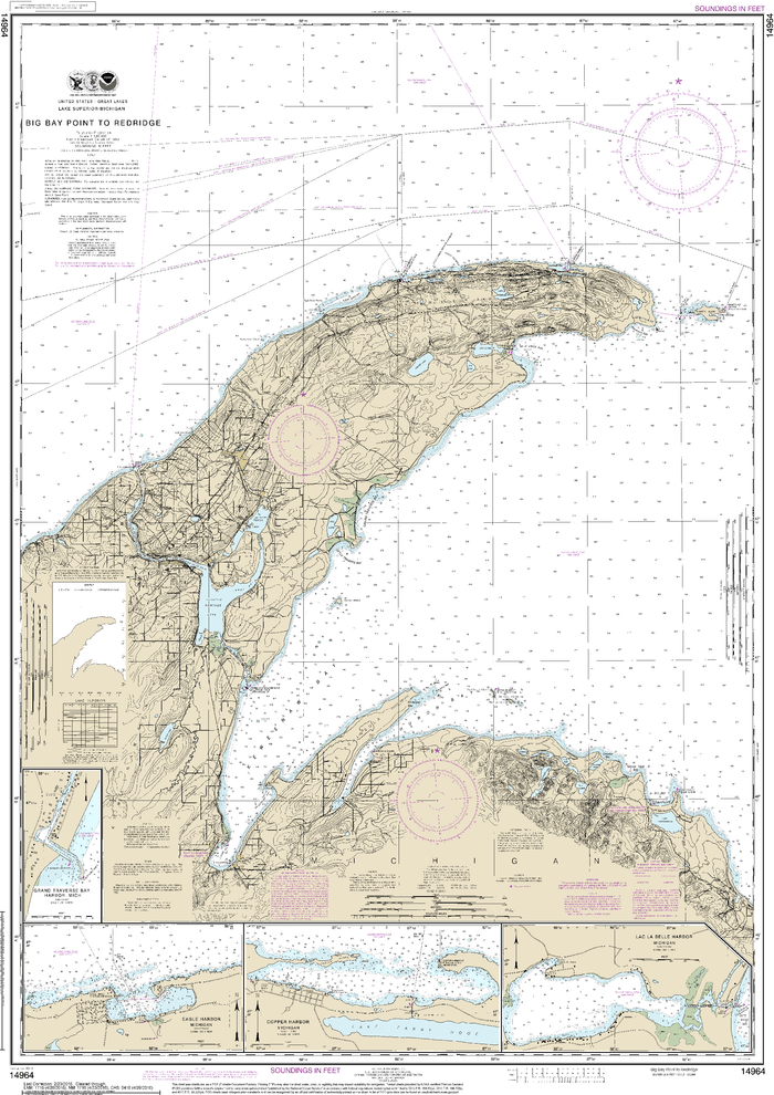 NOAA Nautical Chart 14964: Big Bay Point to Redridge;Grand Traverse Bay Harbor;Lac La Belle harbor;Copper and Eagle Harbors