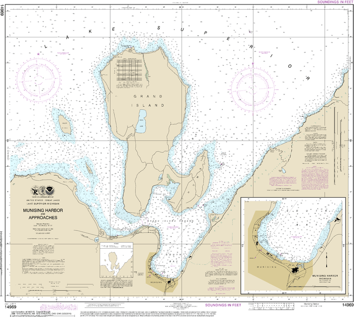 NOAA Nautical Chart 14969: Munising Harbor and Approaches;Munising Harbor