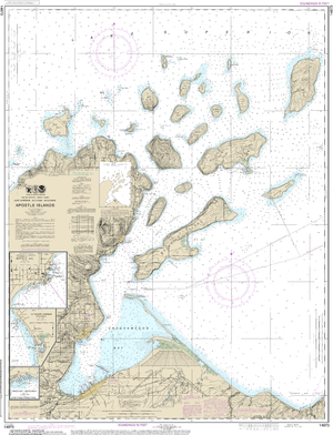 NOAA Nautical Chart 14973: Apostle Islands, including Chequamegan Bay;Bayfield Harbor;Pikes Bay Harbor;La Pointe Harbor