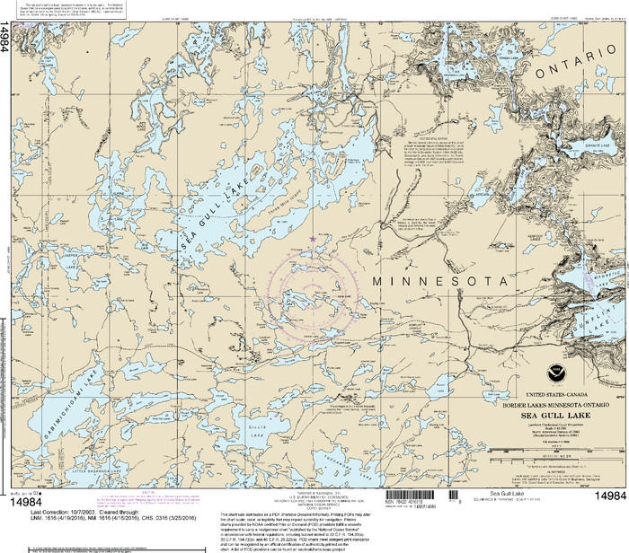 NOAA Nautical Chart 14984: Sea Gull Lake