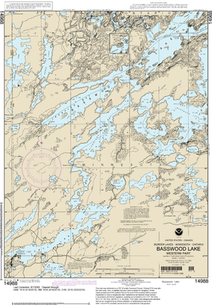 NOAA Nautical Chart 14988: Basswood Lake, Western Part