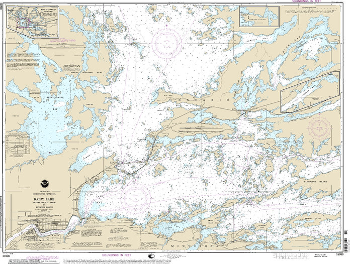NOAA Nautical Chart 14998: Rainy Lake-International Falls to Dryweed Island