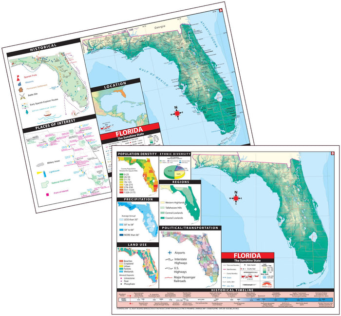 Florida State Intermediate Thematic Deskpad Map (multi-pack)