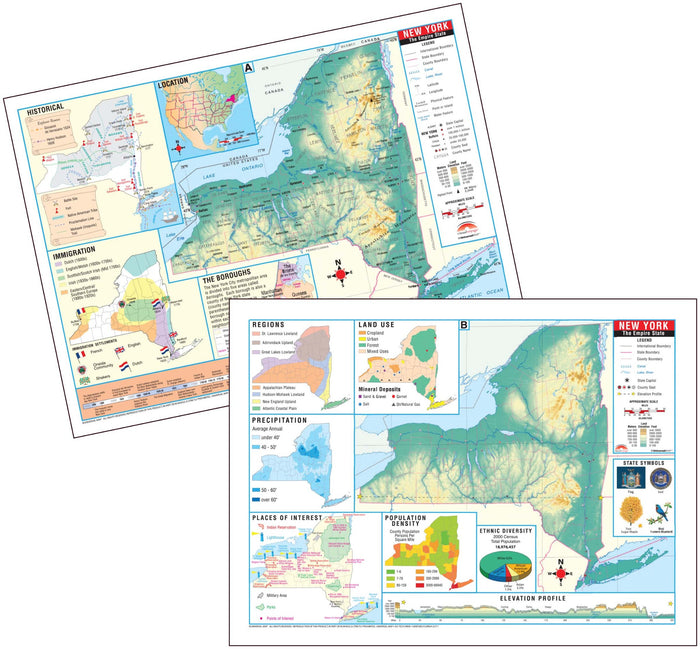 New York State Intermediate Thematic Deskpad Map (multi-pack)