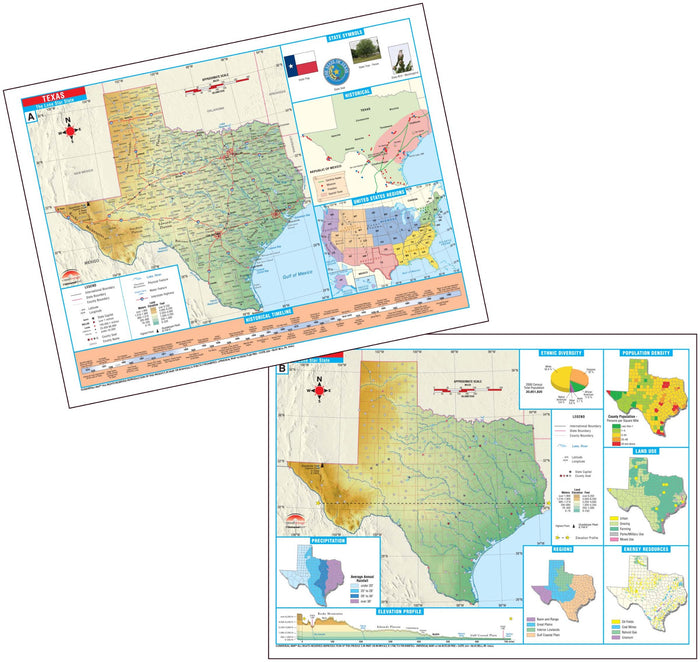 Texas State Intermediate Thematic Deskpad Map (multi-pack)