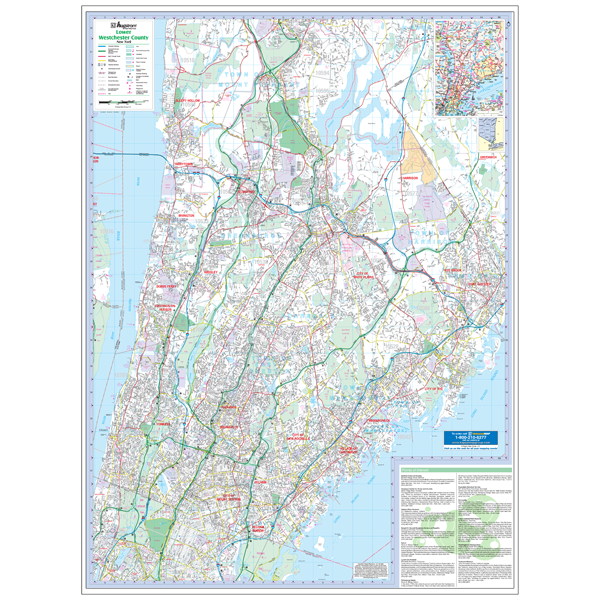 Lower Westchester County, NY Wall Map
