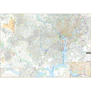 Northern Va Fairfax Arlington County, Va Wall Map - Large Laminated