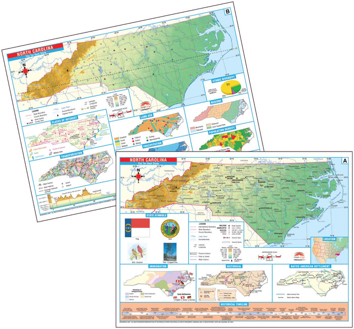 North Carolina State Intermediate Thematic Deskpad Map (multi-pack)