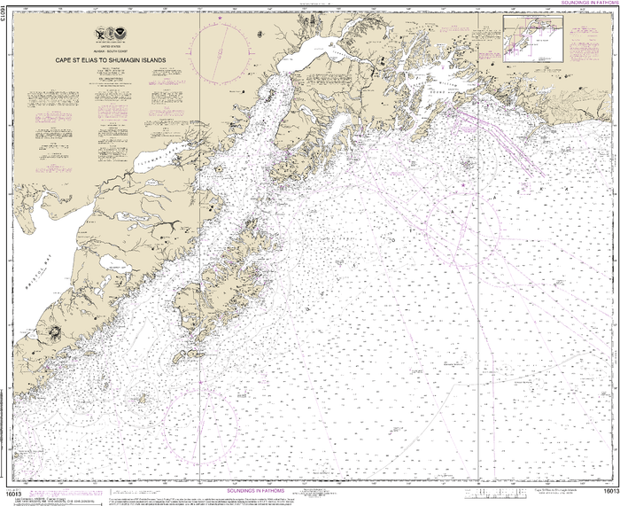 NOAA Nautical Chart 16013: Cape St. Elias to Shumagin Islands;Semidi Islands