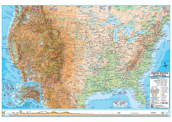 US Advanced Physical Mounted Wall Map (Framing Available)