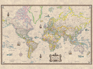 Kappa Map Group  World Antique Look Mounted Wall Map Framing Available